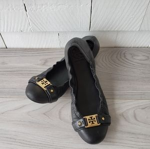 TORY BURCH black Ambrose Leather Ballet Flats